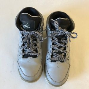 Jordan Kids Grey and Black Sneakers Round Toe